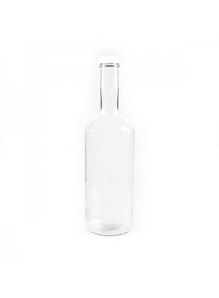 32 fl. oz. Glass Syrup Bottle with White Plactic Cap